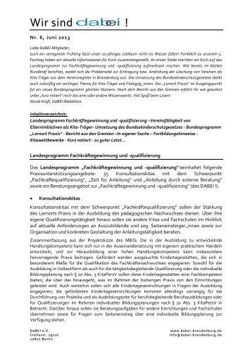 Rundbrief Nr. 6, Juni 2013 - DaBEI e.V.