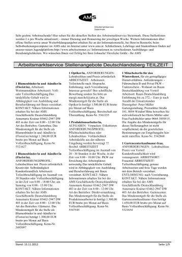 Arbeitsmarktservice Stellenangebote Deutschlandsberg TEILZEIT