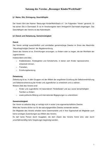 Satzung des Vereins - Bessunger Kinderwerkstadt eV