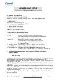 CURRICULUM VITAE - MINES ParisTech
