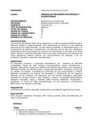 MANEJO DE RECURSOS NATURALES Y ECOSISTEMAS - Cicese