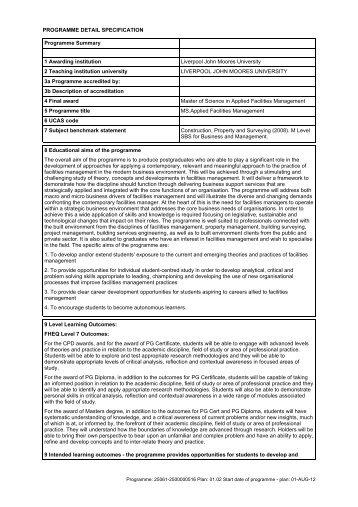 Applied Facilities Management - Liverpool John Moores University