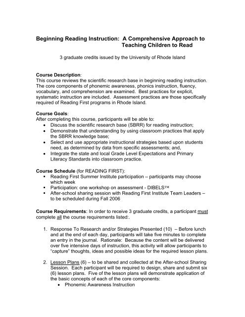 Beginning Reading Instruction: A Comprehensive Approach to