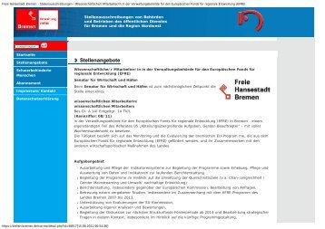 Freie Hansestadt Bremen - Stellenausschreibungen - EFRE