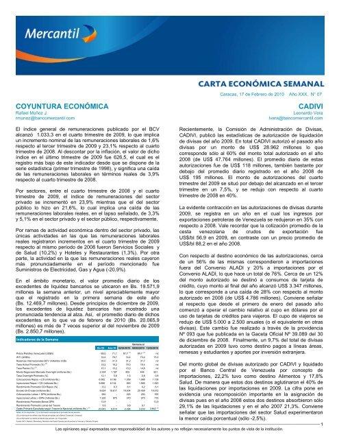 COYUNTURA ECONÓMICA CADIVI