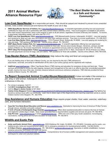 2011 Animal Welfare Alliance Resource Flyer - Humane Society of ...