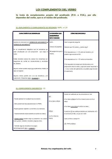 oración simple: complementos del verbo (predicado)