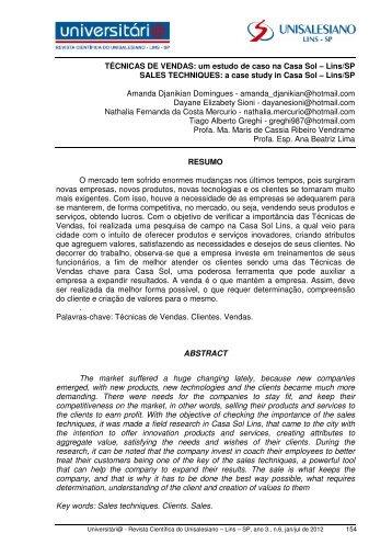 TÉCNICAS DE VENDAS- um estudo de caso na ... - unisalesiano