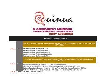 Programa Actividades Congreso Mundial de la Quinua - Jujuy, Argentina