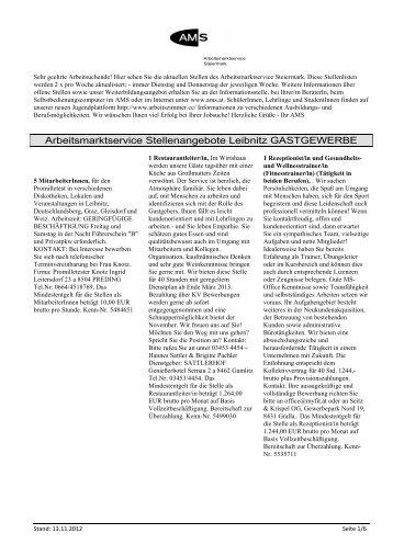 Arbeitsmarktservice Stellenangebote Leibnitz GASTGEWERBE
