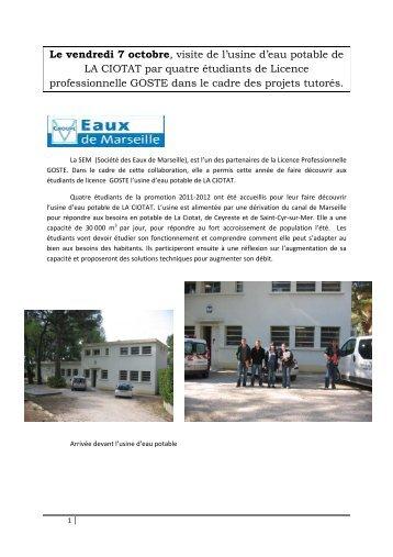 Le vendredi 7 octobre, visite de l'usine d'eau potable de LA CIOTAT ...