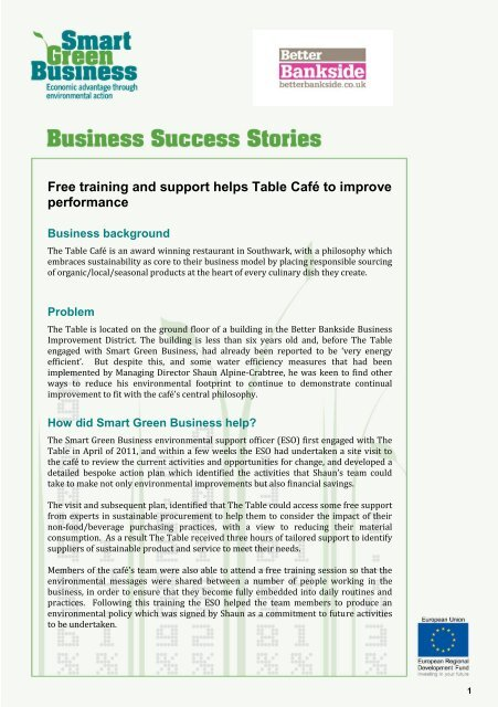 Insert name of small business case study] - Better Bankside