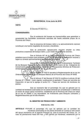 RESISTENCIA, 14 de Junio de 2010 VISTO El Decreto Nº 932/10; y ...