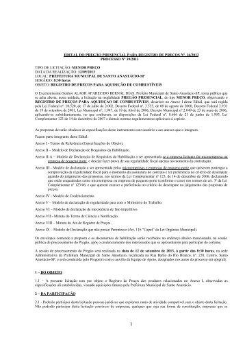 edital do pregão presencial para registro de preços nº. 16/2013 ...
