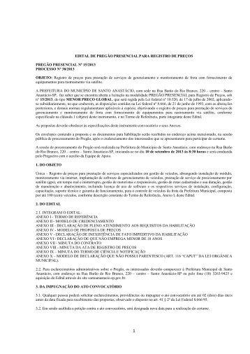 EDITAL DE PREGÃO PRESENCIAL PARA REGISTRO DE PREÇOS ...