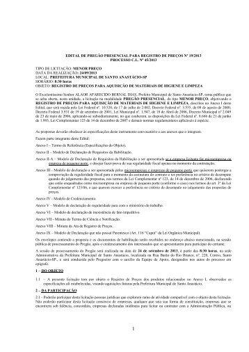 edital de pregão presencial para registro de preços nº 19/2013 ...