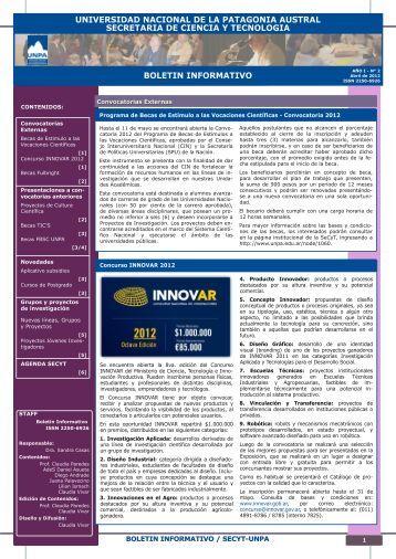 Boletín Abril 2012 - Universidad Nacional de la Patagonia Austral