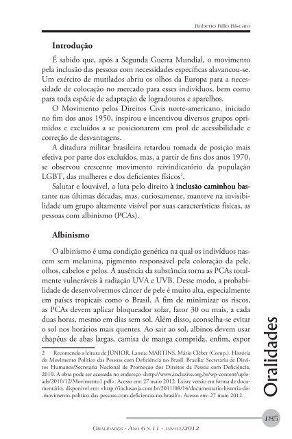 Albinos do Meu Brasil: a luta para não passar em ... - Diversitas - USP