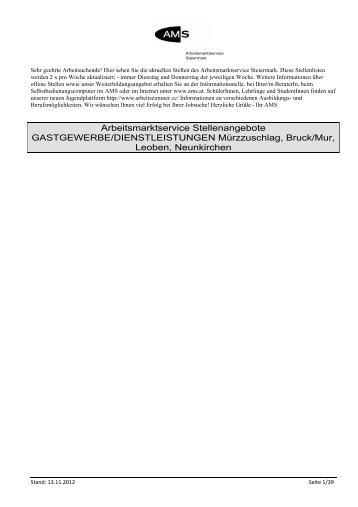 Arbeitsmarktservice Stellenangebote GASTGEWERBE ...