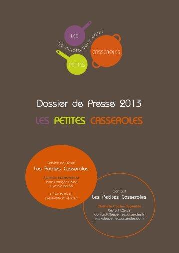 Dossier de Presse 2013 LES PETITES CASSEROLES - Vers le ...