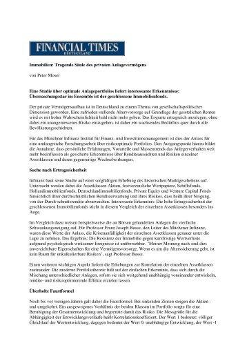 FTD- Immobilien: Tragende Säule des privaten Anlagevermögens ...