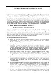Protection de la vie privée / Cookies - M6