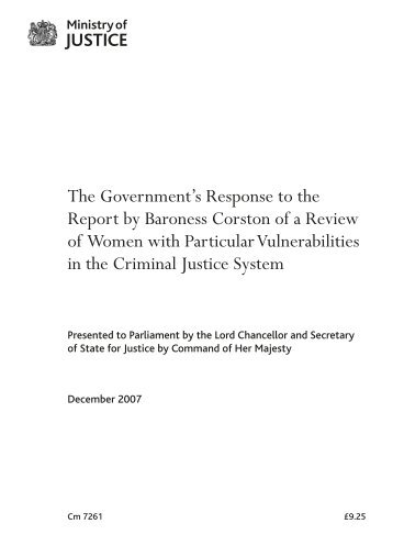 Government response to Corston Report