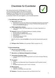 Checkliste für Eventleiter . - Powder Party Bergsport Karlsruhe eV
