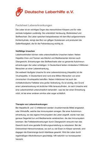 Factsheet Lebererkrankungen