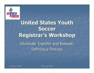 United States Youth Soccer Registrar's Workshop - US Youth Soccer