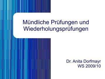 Mündliche Prüfungen und Wiederholungsprüfungen - Dorfmayr