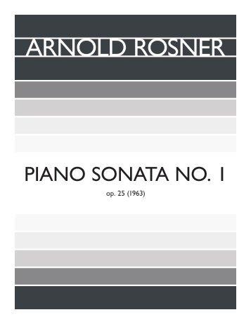 Rosner - Piano Sonata No. 1, op. 25