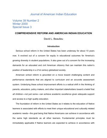 Comprehensive Reform and American Indian Education - Journal of ...