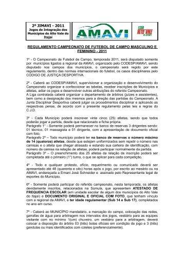Regulamento Futebol de Campo - AMAVI