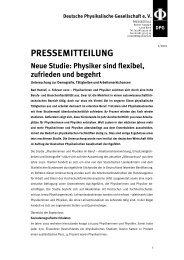 PRESSEMITTEILUNG Neue Studie - Deutsche Physikalische ...