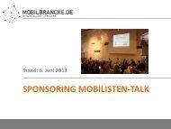 Sponsoring Mobilisten-Talk. Stand: Juni 2013 - Mobilbranche.de