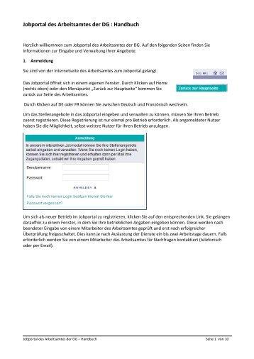 Jobportal des Arbeitsamtes der DG : Handbuch - Arbeitsamt der DG