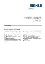 Filterelemente für Flüssigkeitsfilter - MAHLE Industry - Filtration