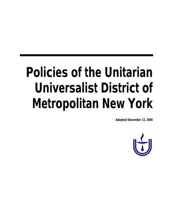 Policies of the Unitarian Universalist District of Metropolitan New York
