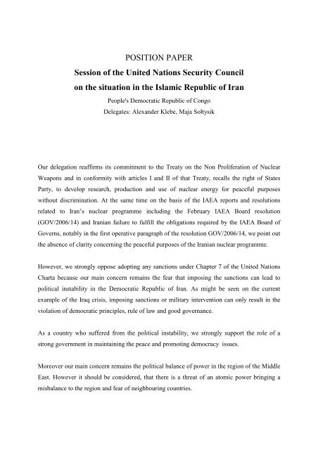 POSITION PAPER Session of the United Nations Security ... - ViaMUN