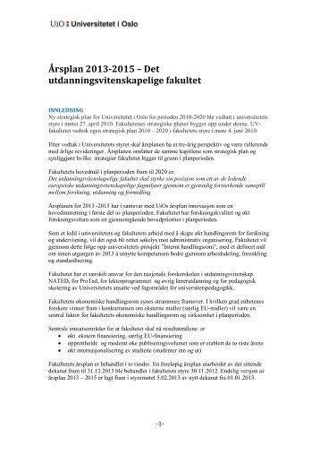 Årsplan 2013-2015 – Det utdanningsvitenskapelige fakultet