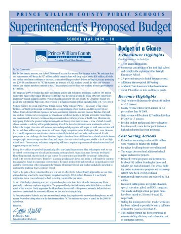 Budget Newsletter, 2009-10 - Prince William County Public Schools