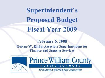 Superintendent's Proposed Budget Fiscal Year 2009