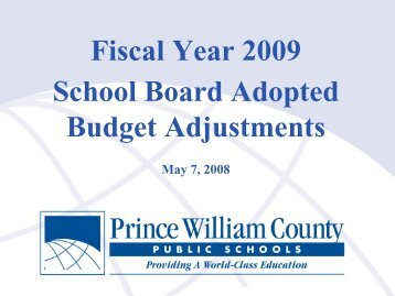 Fiscal Year 2009 School Board Adopted Budget Adjustments