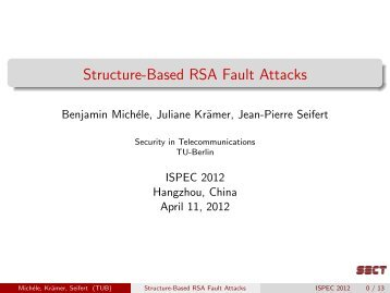 Structure-Based RSA Fault Attacks - TU Berlin