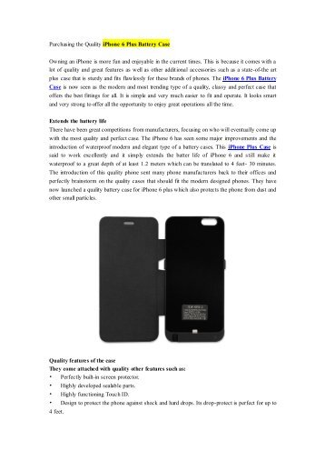 Purchasing the Quality iPhone 6 Plus Battery Case.pdf