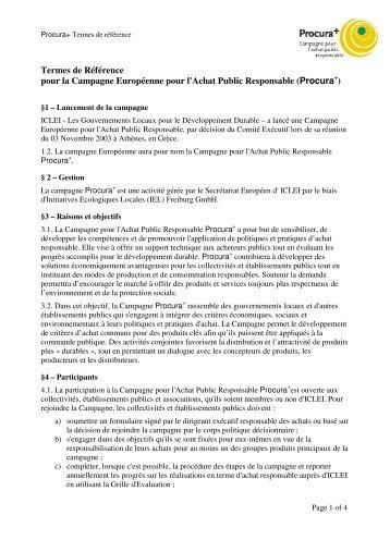 Procura+ Termes de référence