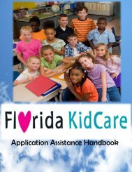 Florida KidCare Handbook 2011 - The Parent Academy
