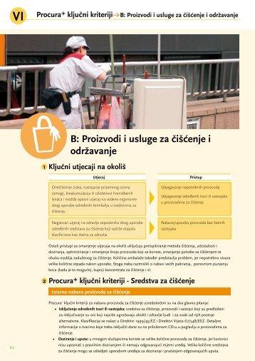 B: Proizvodi i usluge za čišćenje i održavanje