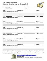 The Parent Academy Summer Reading Log for Grades 3 - 5 www ...
